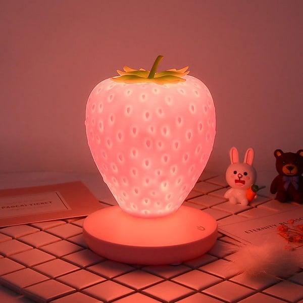 Lampara en forma de fresa en color rosa; Lamparas bonitas que desearas