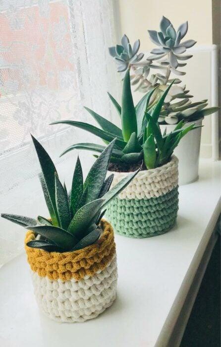 Maceta decorada con crochet; Ideas para crear tus propias macetas