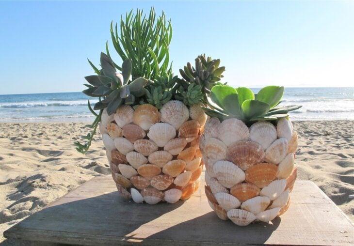 Maceta decorada con conchas; Ideas para crear tus propias macetas