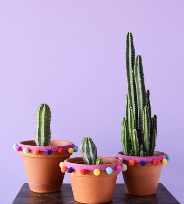 Maceta decorada con pompones; Ideas para crear tus propias macetas