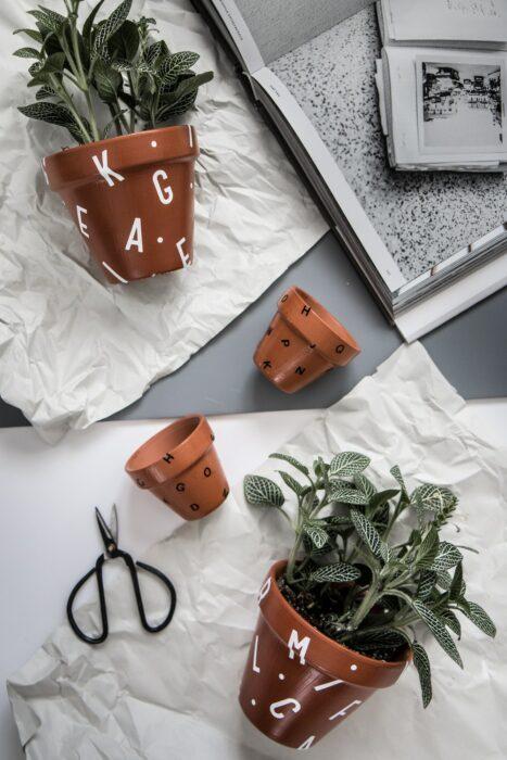 Maceta decorada con letras y barniz; Ideas para crear tus propias macetas