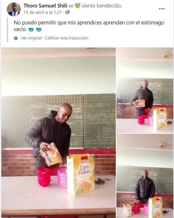Maestro sirviendo cereal a sus alumnos en la escuela; Maestro invierte todo su sueldo para darle de comer a sus alumnos en Sudáfrica (2)