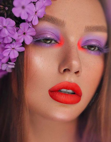 Girl with makeup in purple and carmine red; Spring makeup you'll love