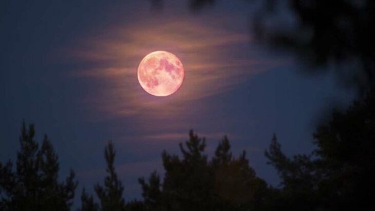 Superluna rosa en el cielo