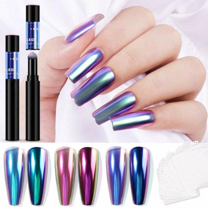 Diferentes colores holográficos para las uñas