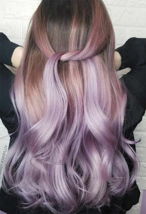 Girl with dyed lilac dye; Pretty pastel dyes you should try