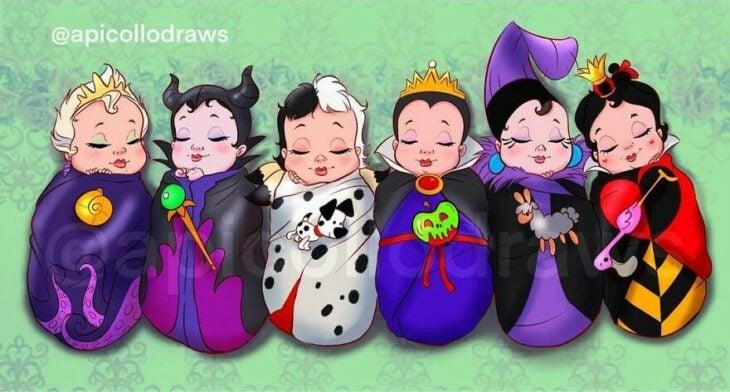 Dibujo por Alex Pick de las villnas Disney como bebés