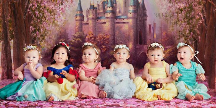 Niñas disfrazadas como princesas Disney