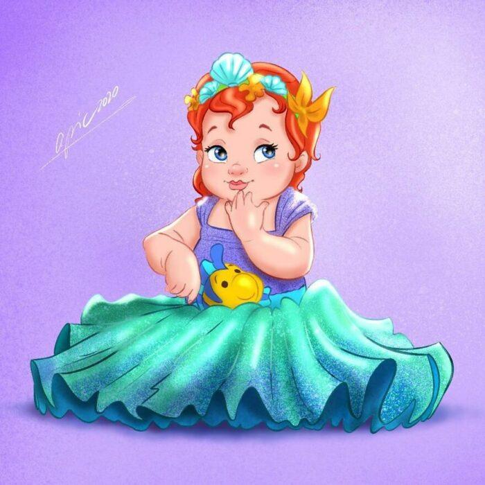 Dibujo por Alex Pick de Ariel como una niña