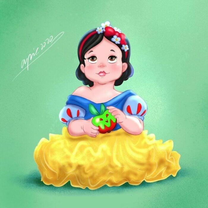 Dibujo por Alex Pick de Blancanieves como una niña