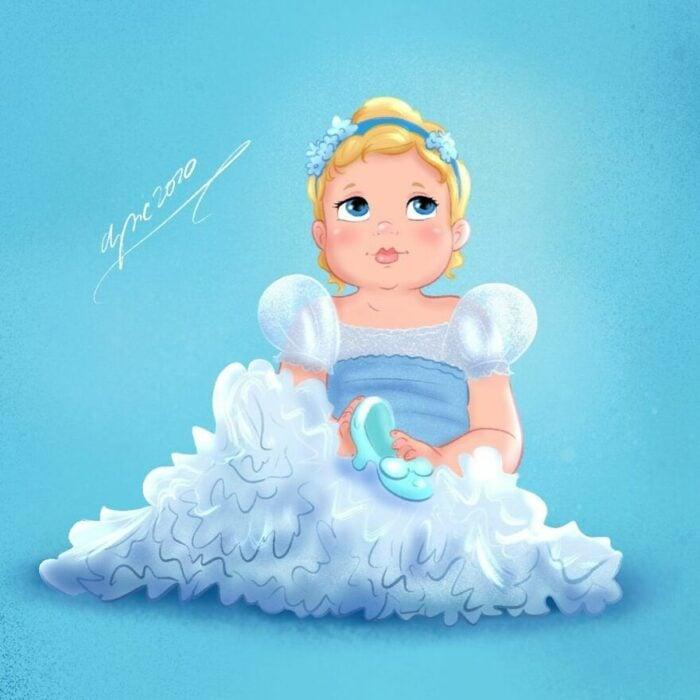 Dibujo por Alex Pick de Cenicienta como una niña