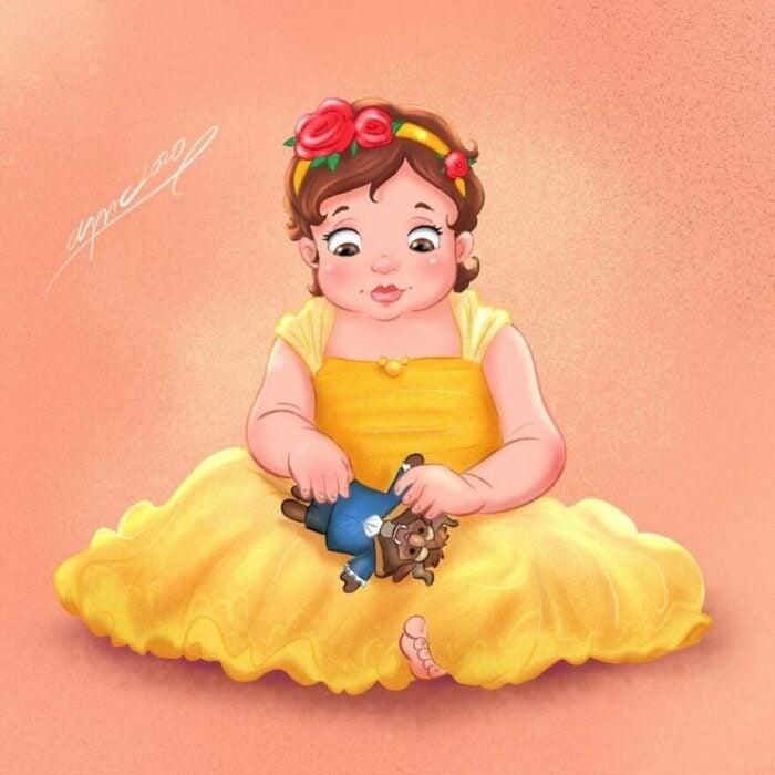 Dibujo por Alex Pick de Bella como una niña
