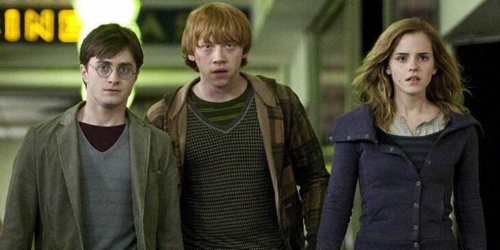Escena de Harry Potter en la que están Ron, Hermionie y Harry juntos