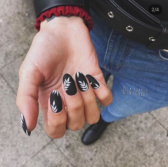 Black manicure with white leaf decoration, Pretty nails with leaf design