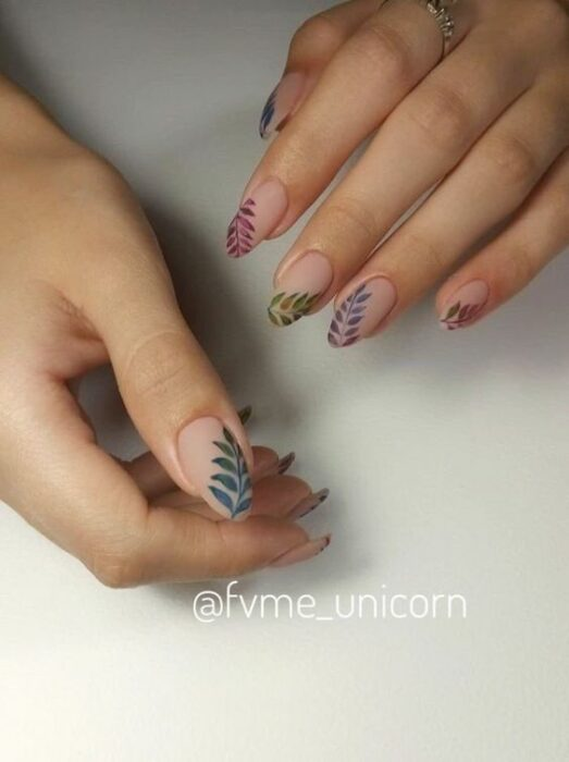 Crystal effect manicure with colored leaves decoration; Pretty nails with leaf design