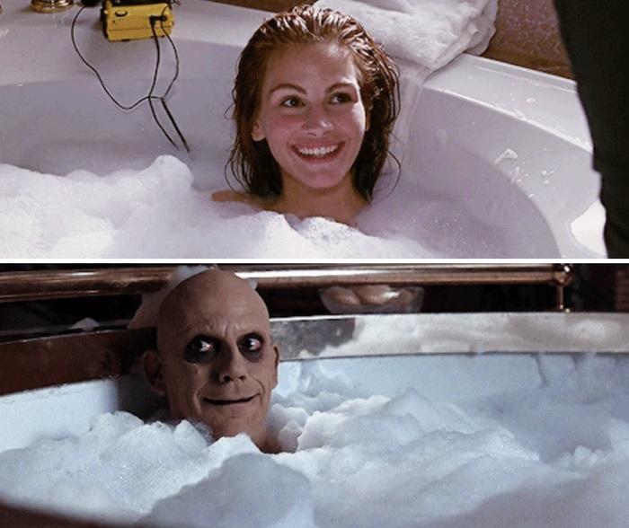 Similitud de escenas en las películas Mujer Bonita - Los locos Addams; Universos paralelos en el cine