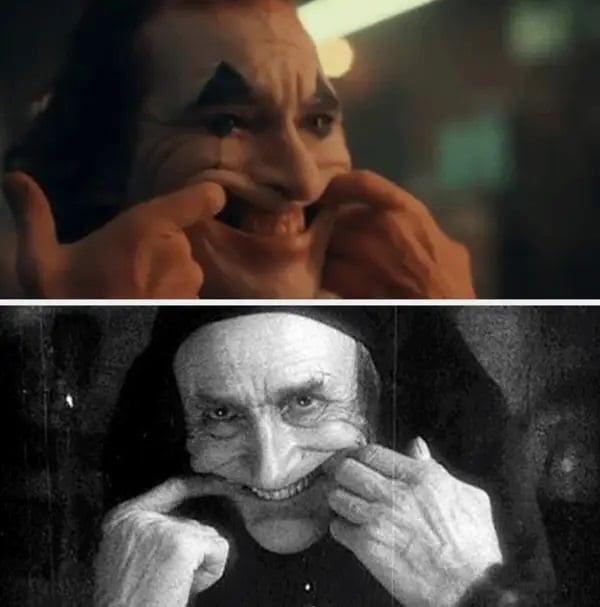 Similitud de escenas en las películas Joker - El hombre que ríe; Universos paralelos en el cine