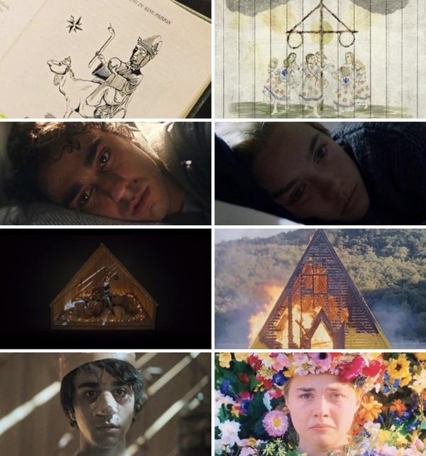 comparación de escenas en las películas Hereditary - Midsommar