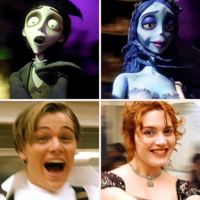 Similitud de escenas en las películas Titanic - El cadaver de la novia; Universos paralelos en el cine