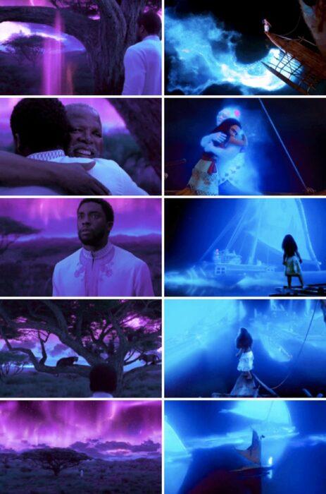 Similitud de escenas en las películas Pantera negra - Moana; Universos paralelos en el cine