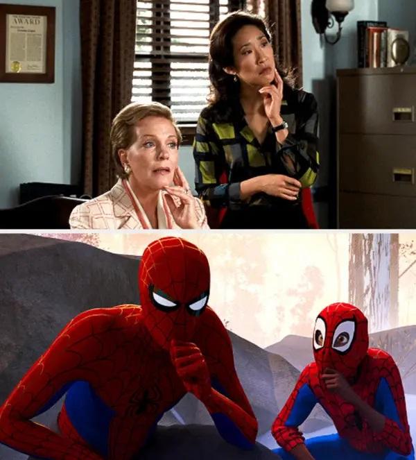 Similitud de escenas en las películas El diario de la princesa - Spider-Man: un nuevo universo; Universos paralelos en el cine