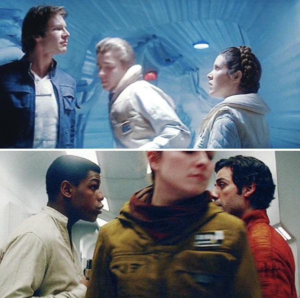 Similitud de escenas en las películas Star Wars: el imperio contraataca - Star Wars: el último Jedi; Universos paralelos en el cine