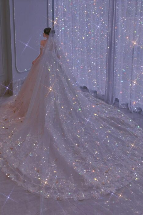 Girl wearing sparkly princess dress with strapless neckline
