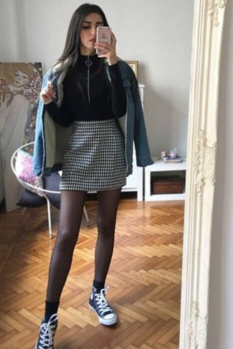 girl wearing an outfit with a plaid skirt and stockings; 13 school outfits that you miss your school days