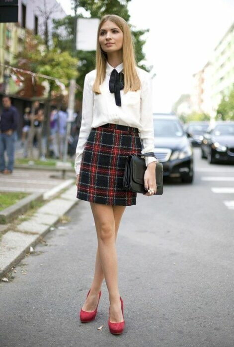 chcia wearing a collegiate style outfit with a navy blue and red plaid skirt; 13 collegiate outfits if you miss your school days