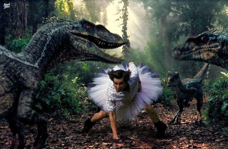 Ace ventura tratando de domar a los velociraptores de Jurassic Park