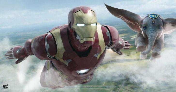 Ironman y Dumbo volando juntos