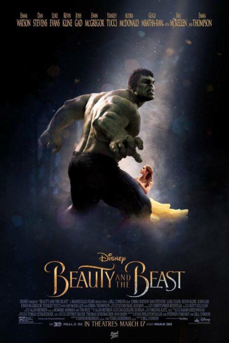 Hulk en el poster de La bella y la bestia