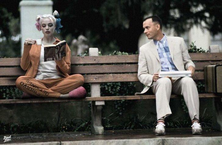 Forest Gump sentado en una banca junto a Harley Quiin