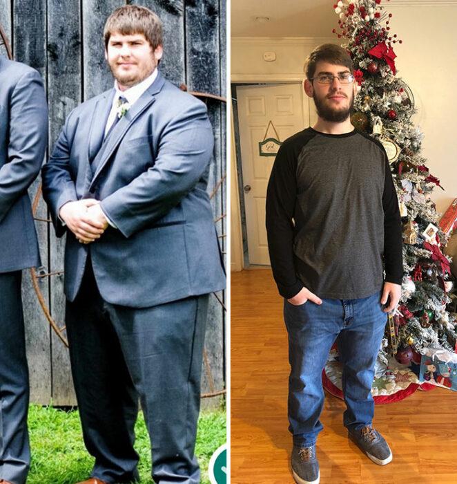 Chico antes y después de su pérdida de peso