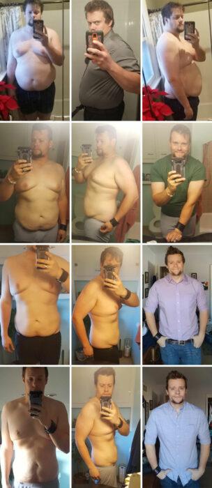 Chico mostrando su proceso del antes y después de su pérdida de peso