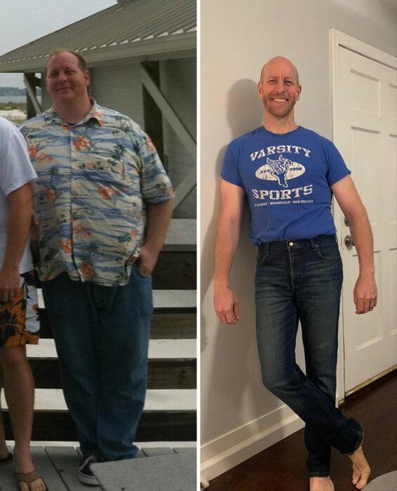Chico mostrando el antes y después de su pérdida de peso