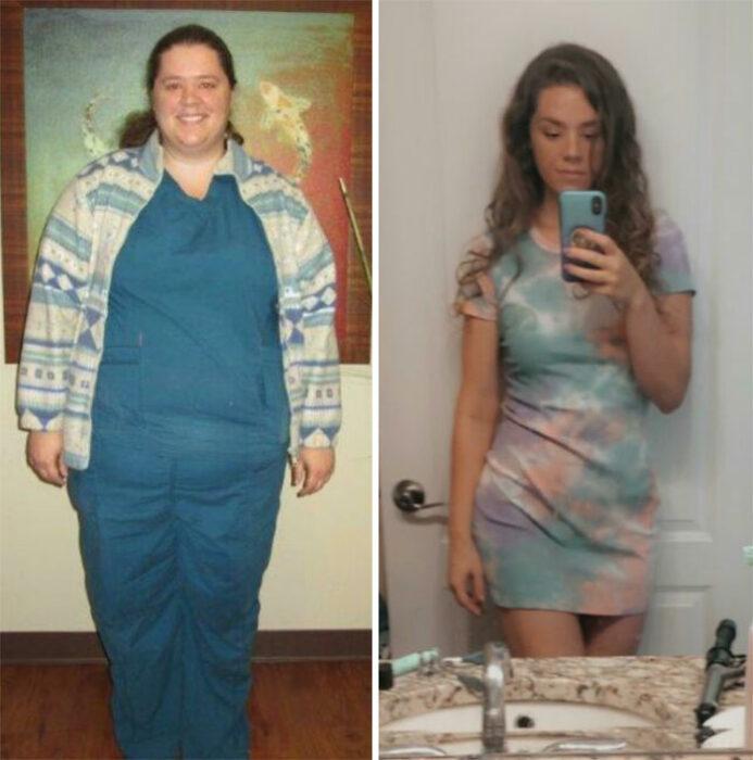 Chica mostrando el antes y después de su pérdida de peso