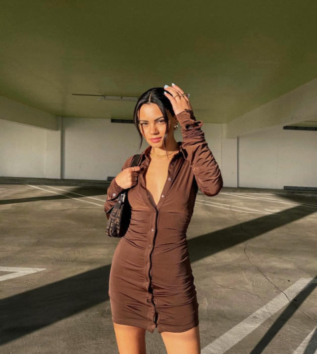 brunette girl with long-sleeved brown dress, buttons on the front, small black bag