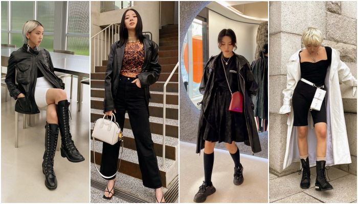 chicas asiáticas, coreanas con outfits, conjuntos, looks cool, en tendencia, de moda con colores pastel, claros, botas, bolsas, lentes de sol y prendas básicas
