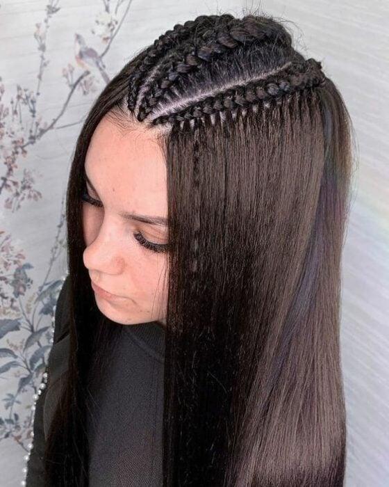 trenza triple superior ;13 trenzas con cabello suelto para esos días ni de frío ni calor