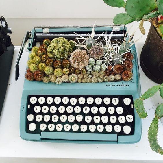 maceta en maquina de escribir ;14 Macetas aesthetic para que tus plantas se ven bien chulas