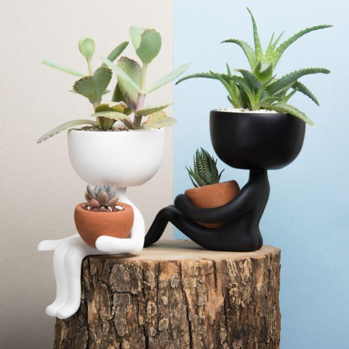 macetas en blanco y negro ;14 Macetas aesthetic para que tus plantas se ven bien chulas