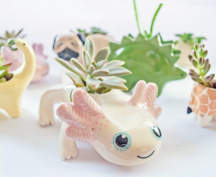 Maceta en forma de ajolote ;14 Macetas aesthetic para que tus plantas se ven bien chulas