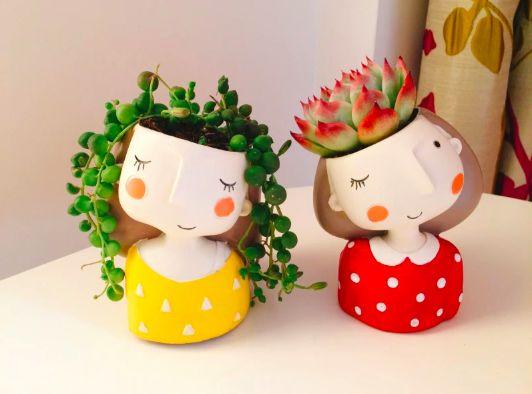 Macetas en forma de niñas;14 Macetas aesthetic para que tus plantas se ven bien chulas