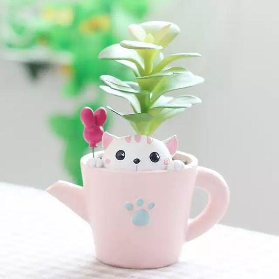 maceta en forma de tetera ;14 Macetas aesthetic para que tus plantas se ven bien chulas