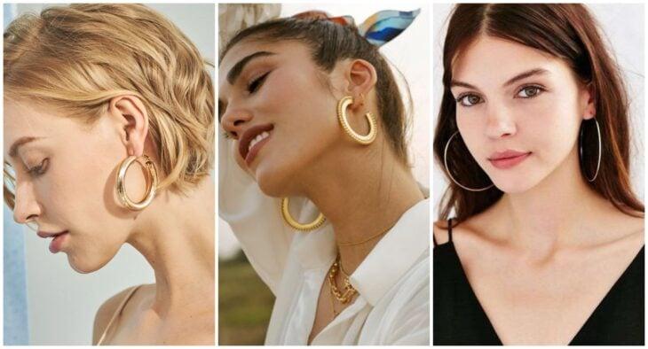 Chicas usando pendientes de aros;  7 Tipos de aretes que toda chica debería tener en su alhajero