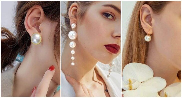 chicas usando pendientes con perlas; 7 Tipos de aretes que toda chica debería tener en su alhajero