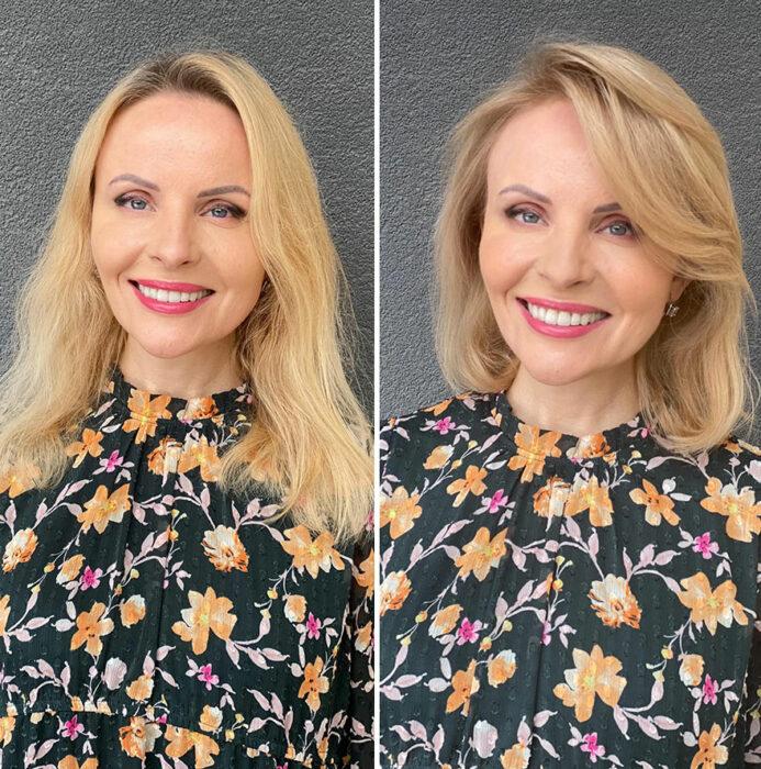 Mujer mostrando su antes y después al recibir un cambio de look en el cabello