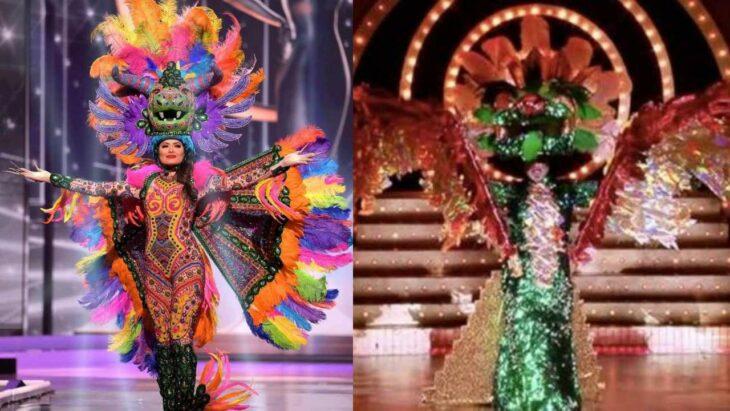 Comparación del traje típico de Andrea Meza y el de un programa de concursos