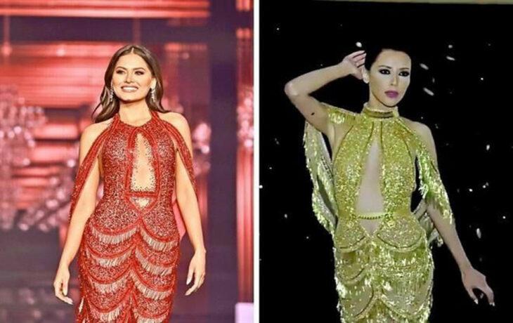 Comparación del vestido de Miss Universo con uno color dorado